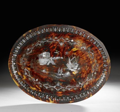 plateau tray pique or gold inlaid tortoiseshell